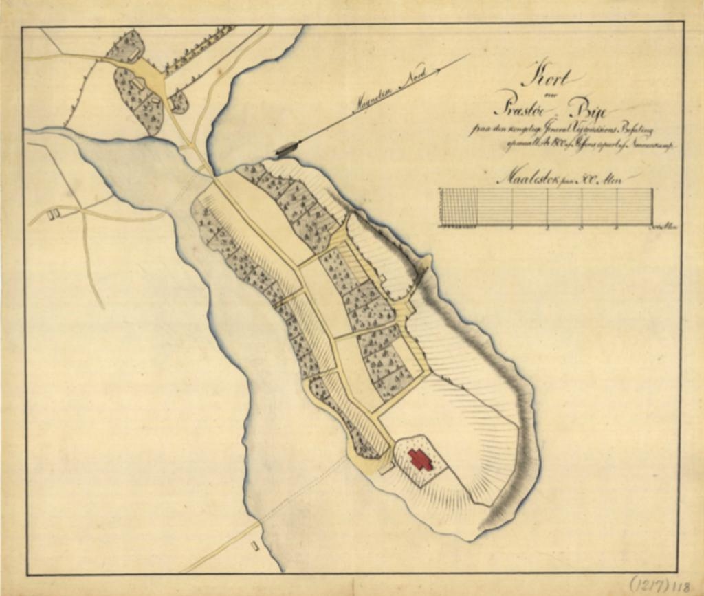Et gammel kort over Præstø inkluderer fjorden.