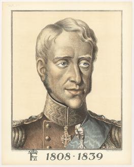 Portræt af Frederik 6. Billedet er en såkaldt anskuelsestavle fra serien Alfred Jacobsens Billeder til Skolebrug, 1922